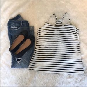J.CREW racer back Stripped top